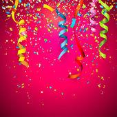 Coriandoli colorati su sfondo rosso