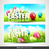 Vector set of two horizontal Easter banners