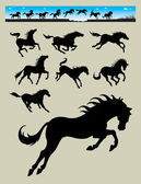 Horse running and jumping silhouettes bonus banner or header for your web or any design you want Very easy to change horse color Good use for symbol logo sticker wallpaper or any design you want