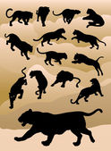 14 Tiger panther movement silhouettes Easy to use or change color Good use for your symbol logo sticker wallpaper or any design you want