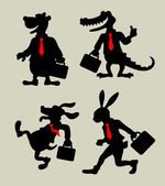 Four animals with suitcase in business activity silhouettes Good use for symbol logo character icon sticker design or any design you want Easy to use or edit