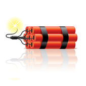Dynamite sticks isolated on white photo-realistic vector illustration