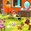 Постер, плакат: Family of cats and dogs in the house