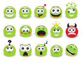 Set di emoticons espressivi verde con ombra