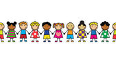 Horizontal seamless Cartoon children standing in a row on a white background