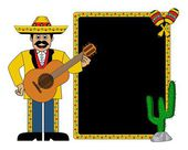 Hispanic man wearing a hat and with a guitar maracas cactus and frame for text