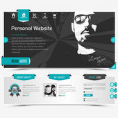 Website template for personal profile contains textured labels buttons and two sample vector portraits