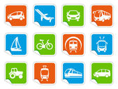 Simple images of types of transport on stickers