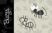 Illustration of cartoon Ant  silhouette