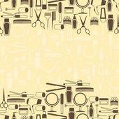 Kadeřnické nástroje bezešvé vzor v retro stylu