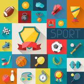 Hintergrund mit Sport-Ikonen im flachen Design-Stil
