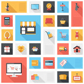 Vector collection of modern flat and colorful shopping icons with long shadow Design elements for mobile and web applications