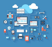 Vector illustration of hardware and cloud computing concept on blue background with long shadow