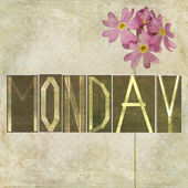 Earthy texture background and design element depicting the word Monday