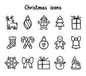 Winter holidays cute vector outlined icons collection