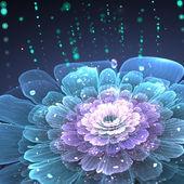 Violet Fraktale Blüte mit Wassertropfen