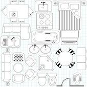 Ikony: Jednoduchý nábytek, půdorys