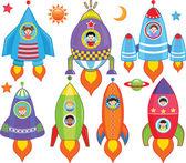Vector collection of Kids inside Spaceship Spacecraft Rocket