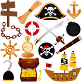 A colorful vector Theme of Pirate equipments sailing
