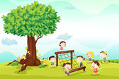Illustration of a kids playing under a tree