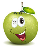 Illustration of winking apple smiley on a white