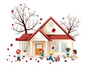 Illustration of a kids working in front of house