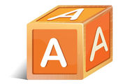 Illustration of a brick with the letter A on a white background
