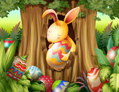 Illustration of a rabbit inside the hole of a tree surrounded with eggs