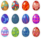 Illustration of a dozen of easter eggs on a white background