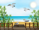 Illustration of a flock of birds at the bridge