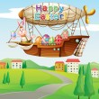 Постер, плакат: An airship with colorful eggs and two bunnies