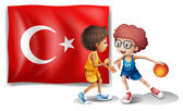Illustration of the two boys playing basketball in front of the flag of Turkey on a white background