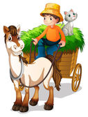 A farmer riding a cart with a cat at the back