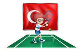 Illustration of a boy playing tennis in front of the flag of Turkey on a white background