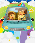 Illustration of a mother driving with her daughter