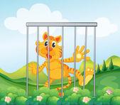 Illustration of a caged tiger