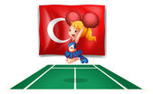 Illustration of the flag of Turkey and the energetic cheerdancer on a white background