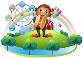 Opice s ruské kolo a balónky na záda