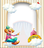 Illustration of an empty entrance-like template with a clown