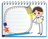 A Jegyzetfüzet-val egy vázlatot egy fiú órájára néz