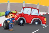 Chlapec v blízkosti dopravní nehoda na silnici