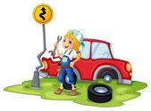 ženské mechanik stanovení červené rozbité auto