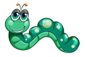 Illustration of a green worm on a white background