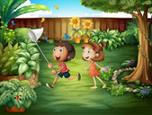 Illustration of the two friends catching butterflies at the backyard