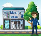 Illustration of a business owner outside the men's fashion shop