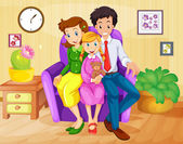 Illustration of a family inside the house