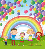 Illustration of a happy family under the floating balloons with a rainbow