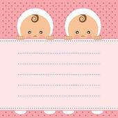 Baby girl dvojčata oznámení karty. vektorové ilustrace