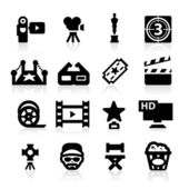 Film industry icons set Elegant series