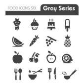 Potraviny ikony šedé série šesti